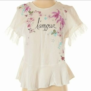 Cinq a Sept Embroidered Graphic Lace Tee Sz M/L